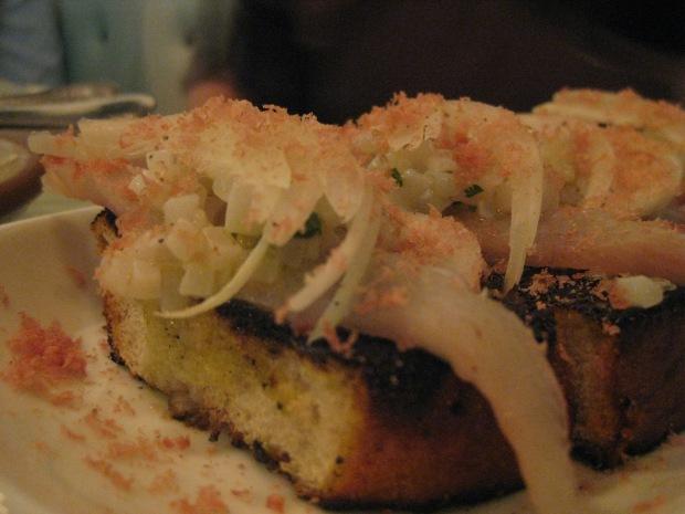 Fish fingers with hiramasa and mojama (salt cured tuna) on top